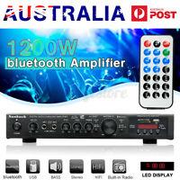 SUNBUCK 5CH Stereo bluetooth Power Amplifier HiFi Digital FM Home Karaoke Amp