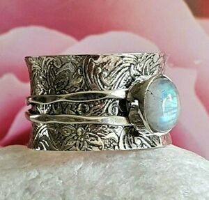 GIFTS FOR HER- size M 1/2- STERLING Silver- MOONSTONE- Spinner- Anxiety Ring