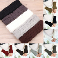 Women Fingerless Warm Mitten Gloves Knitted Arm Hand Warmer Half Finger Winter