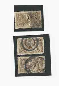 3 UK GREAT BRITAIN STAMPS 1913 SC # 173 USED ,PERFIN J&S, REGISTERED VPP CANCEL