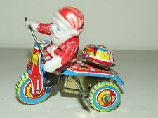 Vintage Working Tin Litho & Celluloid Wind-Up Santa on Tricycle Bike with Bell