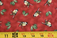 By 1/2 Yd, Birds & Holly on Rusty-Red Fabric/Quilting Treasures/Hautman, N4157