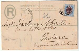 1904 MALTA A25= UPRIGHT NUMERAL UPRATED POSTAL STATIONERY REGISTERED & AMB TPO