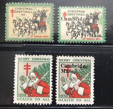 Pair of 1930, 1931 Christmas Seals, overprinted Cambridge Massachusetts