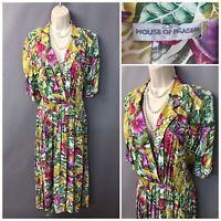 Vintage House of Fraser Green Mix Floral Pleated Retro Dress UK 12 EUR 40