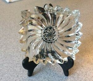 Flower Spiral Square Glass Dish