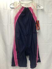 Tyr Womens sz M Multi-sport Zip Trisuit Competitor Swim Bike Run Navy/pink Usa