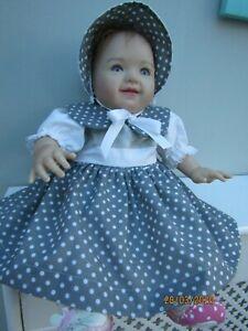 "CLOTHES FOR BABY 0-3mths /REBORN 16""-18"" GREY SPOT  COTTON DRESS  SET"