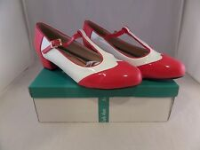 LuLu Hun Rita Block Heel Vintage Style T-Straps Wing Tips Red White Sz US 6 NWD