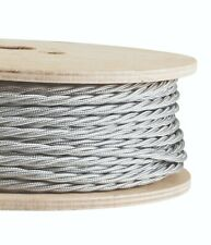 SILVER FABRIC CABLE - Twisted Lighting Cable Flex - Italian - Sold Per Metre