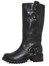 Report Tessah Leather Riding Boot Black Women Sz 6 2047