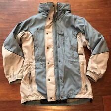 Columbia Woman's Blue Gray Waterproof Ski Jacket Removable Lining Zip Hood Sz S