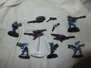 Metal Tau Pathfinder X 5 figures + 3 gun sniper drone Warhammer 40K Ref B2