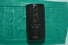 Beautiful Black Stone Greek Cylinder Seal Pendant with Beautiful Engravings