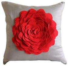 Decorative 16x16 inch Pillowcase Cover Felt Taupe Brown, Rose - Red Rose