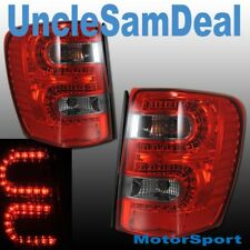 JEEP GRAND CHEROKEE RED SMOKE LENS L.E.D.LED TAIL LIGHTS PAIR DIRECT FIT