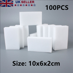 100pcs Magic Cleaning Sponge Pads Stain Dirt Mark Remover Melamine Foam White