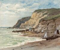 BOAT ON ROCKY COASTLINE Small Victorian Watercolour Painting 19TH CENTURY