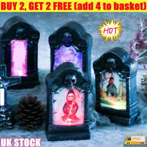 Halloween Grave Tombstone Light Night Lamp Glowing LED Garden Home Party Decor