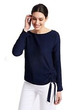 M&S Textured Navy Tie Side Top PER UNA Blouse Size 12-18-14-10-20