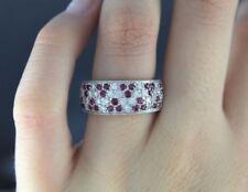 Anillos de joyería con diamantes naturales de oro blanco rubí