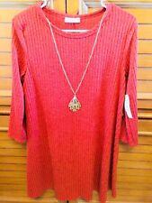 NWT Pinc Orange/Rust Sz XL Long Sleeve Dress W Gold Necklace Polyester