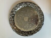 Vintage Antique Silver Plated Engraved Serving Plater Plate Tray VGC