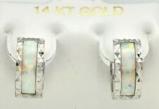 GENUINE 0.60 Cts OPAL 14k Gold Huggie EARRINGS ** FREE SHIPPING & APPRAISAL **