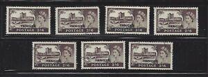 Britain Tangier 1955 2/6 Overprint VF Used x 7, Scott 576, SCV $70