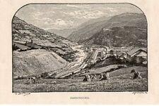 Stampa antica BARDONECCHIA veduta panoramica Torino 1892 Old print