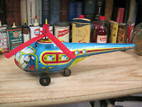 CHEIN TOY TOWN HELICOPTER 1950'S FRICTION WINDE UP TIN TOY BOY 13 INCHES
