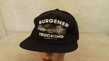 Vtg Burgener Trucking LaPorte Colorado Black Mesh Snapback Trucker Hat/Cap NOS