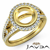 Diamond Engagement Ring Round Semi Mount Halo Pave 0.8Ct VS1-VS2 18k Yellow Gold