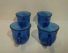 4 VTG Fortecrisa Mexico Cobalt Blue Depression Glass Mugs Leaf Pattern 8oz EUC