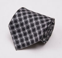 New $255 TOM FORD Silk-Linen Tie Black and White Woven Check Pattern