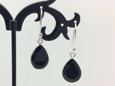 925 Sterling Silver Black Onyx Teardrop Dangle Earrings Gemstone Tear Drop Pear