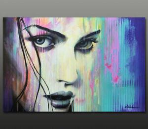 Gala ORIGINAL modern POP art nude girl face urban portrait painting LARGE ~NEW