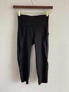 Lululemon Size 2 Black Crop Leggings Run City Mesh Reflective