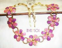 ANTIQUE ART DECO ENAMEL PINK PURPLE FLOWER VINTAGE NECKLACE WITH DOG LEAD CLASP
