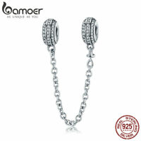 Bamoer 925 Sterling Silver Safety CZ charm As Simple As You Fit Bracelet Jewelry