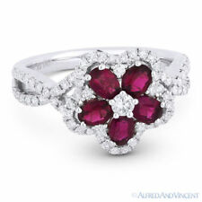 White Gold Right-Hand Flower Cocktail Ring 1.57ct Oval Cut Ruby Diamond Pave 18k