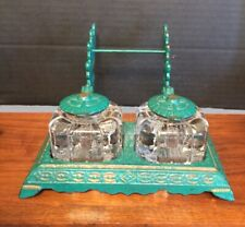 Antique Double Inkwell W/ Pen Rack And Rare Swivel Lids