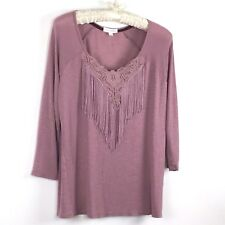 coco + jameson Womens Top Size Large 3/4 Sleeve Mauve Tasseled Front Blouse 02