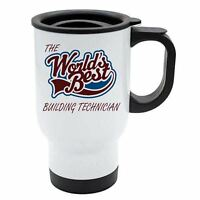 The Worlds Best Building Technician Thermal Eco Travel Mug - White Stainless Ste