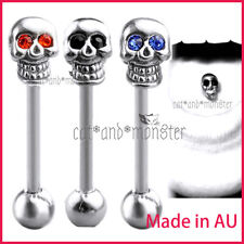 Gem Eyes Skull Tongue Ear Bar Barbell Gothic Tounge Stud Piercing Surgical Steel
