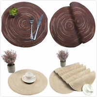 Round Braided Placemats Washable Kitchen Insulation Table Cover Mats Brown 14''