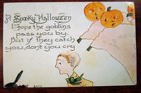 Spooky Halloween Goblins Pass You By Catch You Don't Cry Antique Postcard 1203