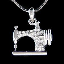 w Swarovski Crystal Frister Rossmann Vintage look Sewing machine Charm Necklace