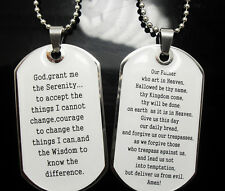 2 Men's Serenity Bible Lord's prayer pendant necklace Jewelry lots dog tag