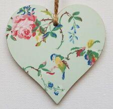 Handmade Wooden Hanging Heart Door Hanger Cath Kidston 'Garden Birds' Print